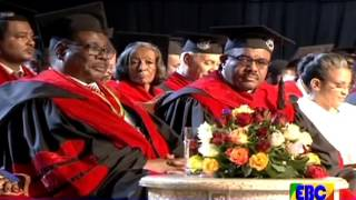 professor peter and ambassador konjit speak at AAU Graduation