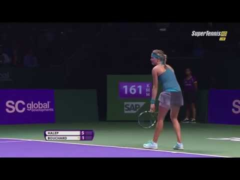 Simona Halep vs Eugenie Bouchard   2014 Finals Singapore [highlights HD]