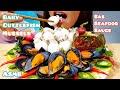 ASMR Baby Cuttlefish, Mussels & SAS Seafood Sauce Mukbang Eating Sounds