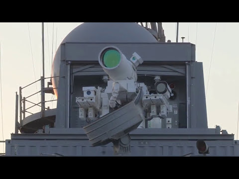 US Navy Laser Weapon System (LaWS) Live Firing Onboard USS Ponce AFSB(I)-15 Office Of Naval Research