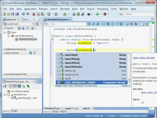 Java Training | Java 1.7 Switch Statement using Strings and Enumerations