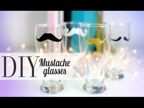 DIY Cute Mustache Drinking Glass - His & Her Gift Ideas {ANNEORSHINE}