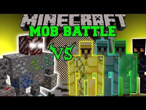 ORE BOSS VS DIAMOND GOLEM, EMERALD GOLEM, & OBSIDIAN GOLEM - Minecraft Mob Battles - Mods