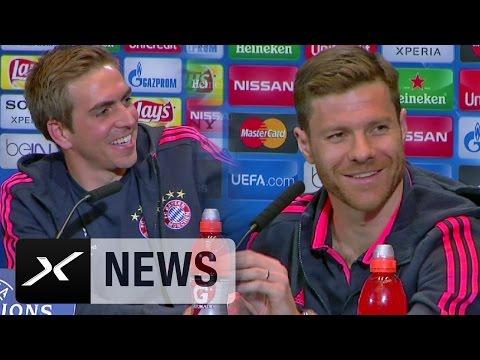 PK-Spaß mit Philipp Lahm, Xabi Alonso und der Übersetzerin | Atletico Madrid - FC Bayern München