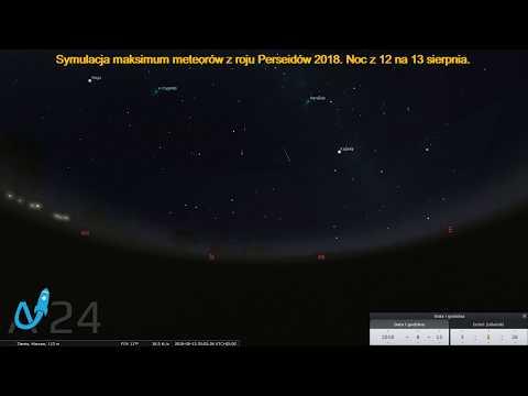 Maksimum meteorów z roju Perseidów 2018 Noc z 12 na 13 sierpnia (Symulacja)