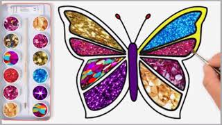 How to draw color butterfly, Drawing and coloring butterfly for kids