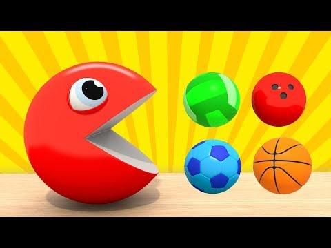 Изучаем Цвета    ПАКМАН - Цветные Спортивные Мячи   Развивающие мультфильмы для малышей ВолшебствоТВ
