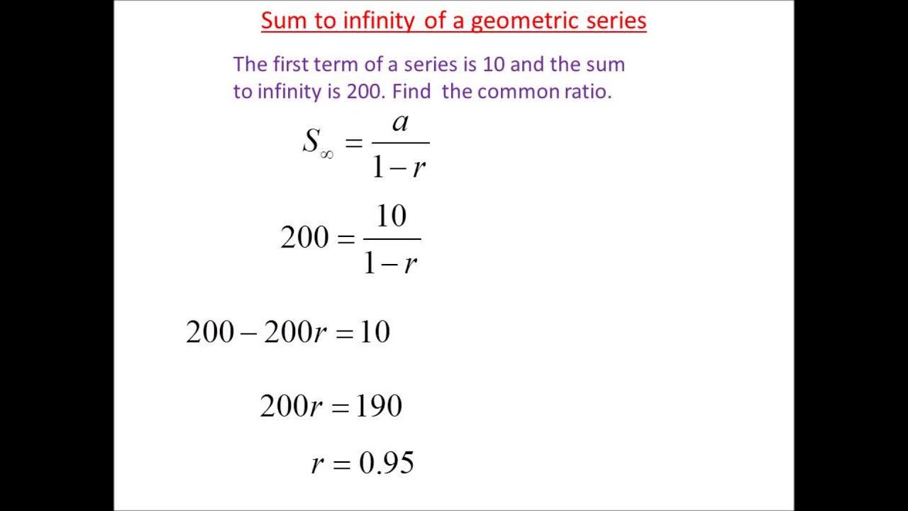 Sum To Infinity Geometric Series Youtube