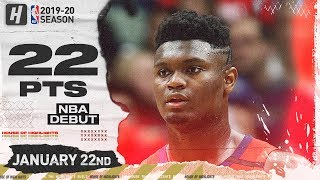 Zion Williamson NBA DEBUT 22 Pts Full Highlights | Spurs vs Pelicans | January 22, 2020