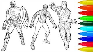 Spiderman Captain America Iron Man Coloring Pages | Colouring Pages For Kids With Colored Markers