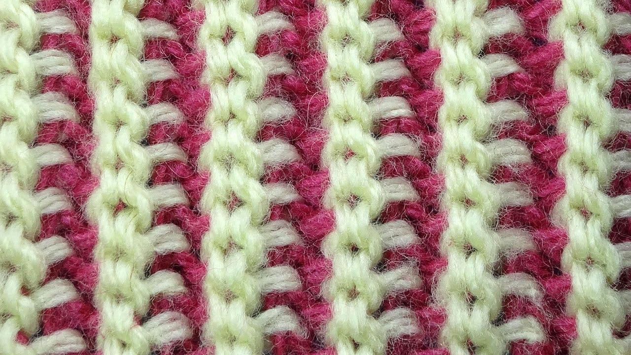 Вязание тунисское резинка 32