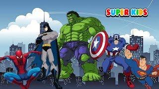 Türkçe süper kahraman şarkılar Örümcek Adam Hulk Batman PARMAK AILESI Baba parmak - çocuk şarkıları