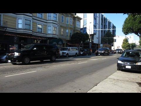 President Obama Motorcade San Francisco @ Gough St & Hayes St November 25, 2013