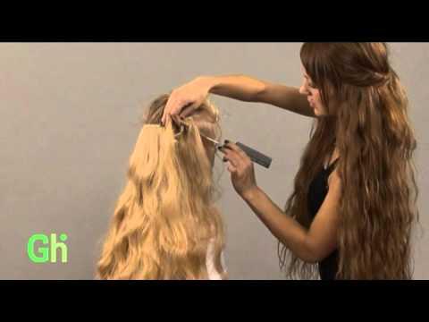 Прически с накладными прядями на заколках в косу