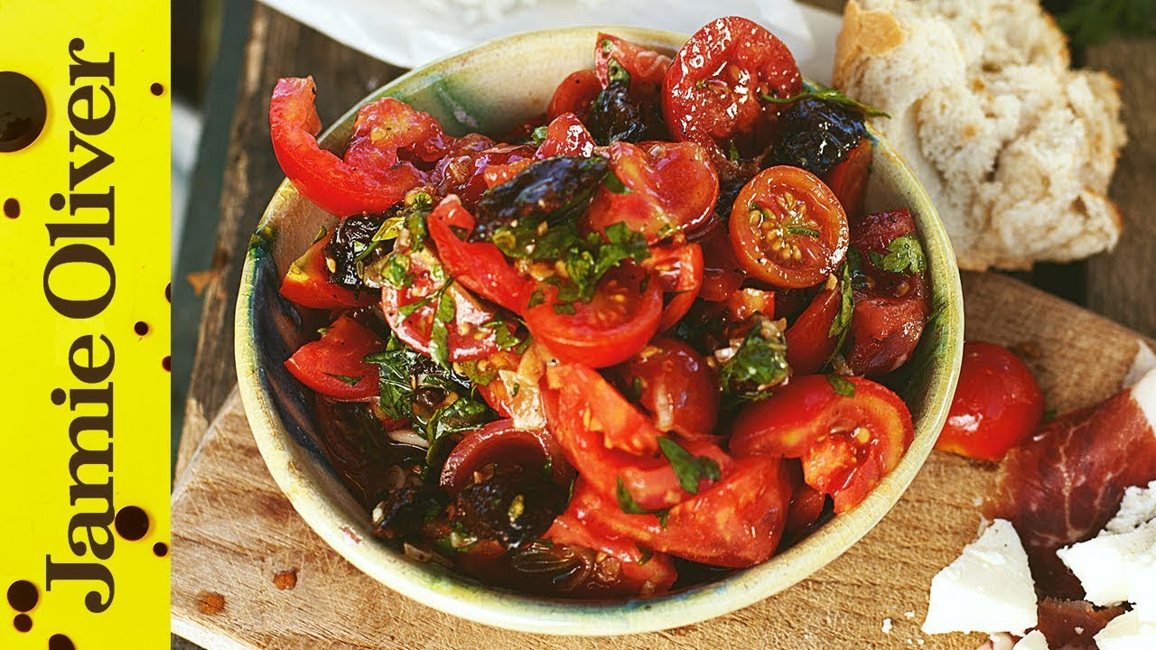 The best Tomato Salad and Chorizo by Jamie Oliver - YouTube