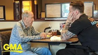 Waiter's kindness towards 91-year-old veteran eating alone wins hearts | GMA Digital