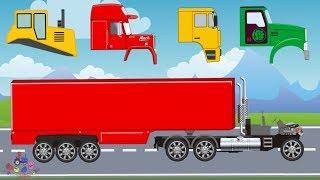 Street vehicles for children with wrong head - tow truck, dump truck & construction bulldozer