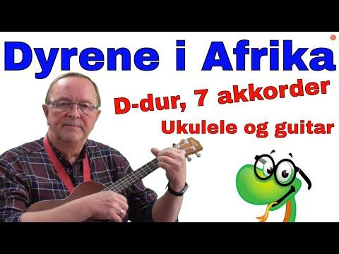 Dyrene i Afrika. Tekst og akkorder for ukulele og guitar. Lyrics, Becifring.