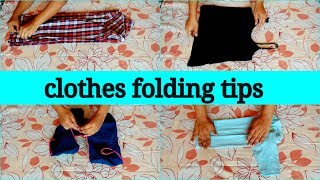 clothes folding tips in telugu|| womens, mens and kids clothes folding tricks