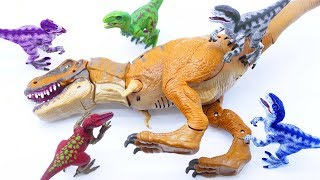 Toys Play Time Raptor Attack T-REX Dinosaur Plays with Ball GIANT Crocodile Head Simple Song for kid