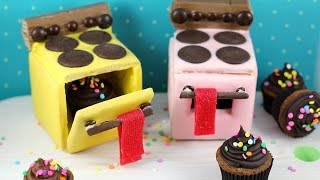 Mini Cookie Ovens! Edible Easy-bake Ovens made w/ candy, cupcakes and cookies!