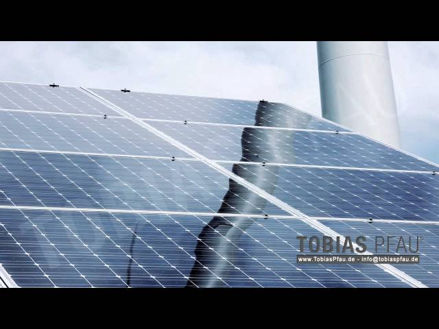 large solar panels with wind turbine - Full HD