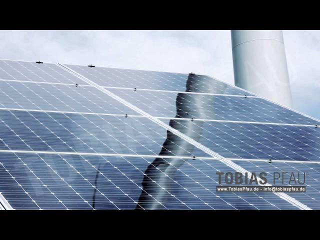 large solar panels with wind turbine - Full HD