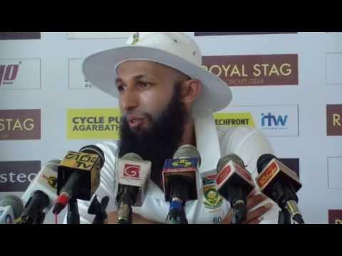 Hashim Amla speaks to media after winning the 1st Test against Sri Lanka