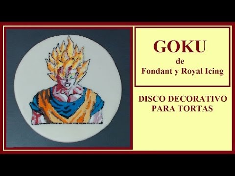 "Disco decorativo de Fondant y Royal Icing -  ""Goku""  (HD)"