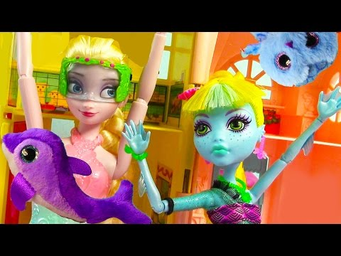 Queen Elsa Lagoona Blue Ty Teenie Beanie Boo's Mcdonalds Happy Meal Toy Review Opening Monster High