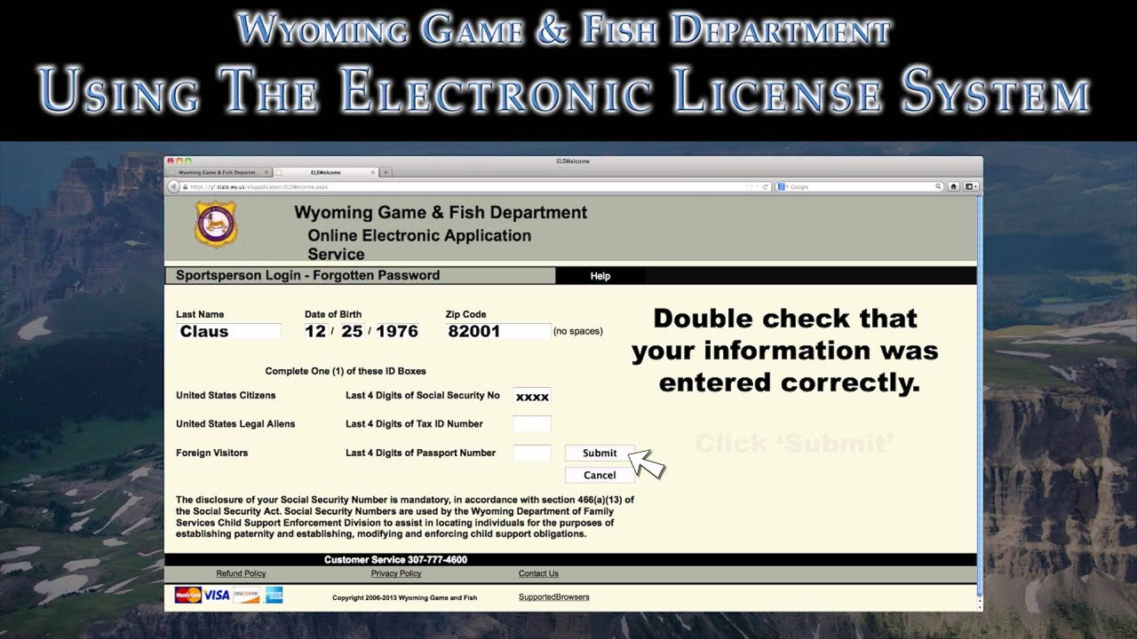 Els resident with unknown sportsperson id youtube for Wyoming non resident fishing license