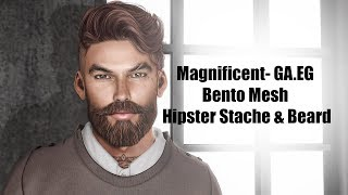 Magnificent GA.EG Bento Mesh Hipster Stache & Beard in Second Life