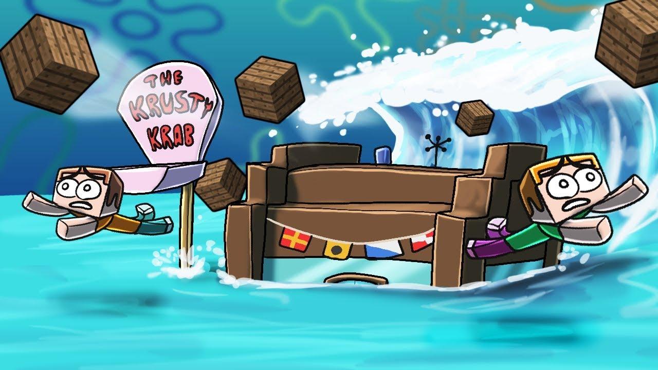Minecraft   TSUNAMI BASE CHALLENGE - Tsunami Destroys Bikini Bottom! (Spongebob Base)