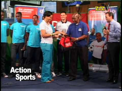 The Digicel Kick Start Clinic was hosted in St. Kitts from April 30th - May 1st. On the evening of April 30th, the Chelsea FC Foundation coaches along with members of the Digicel team visited ZIZ TV Studios as guests on the popular TV Show, Action Sports.