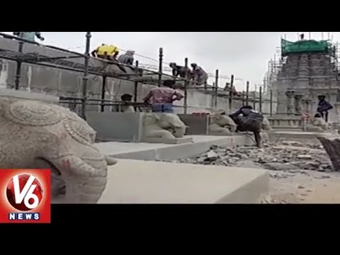 Yadadri Sri Lakshmi Narasimha Swamy Temple Renovation Works In Final Stage   V6 News