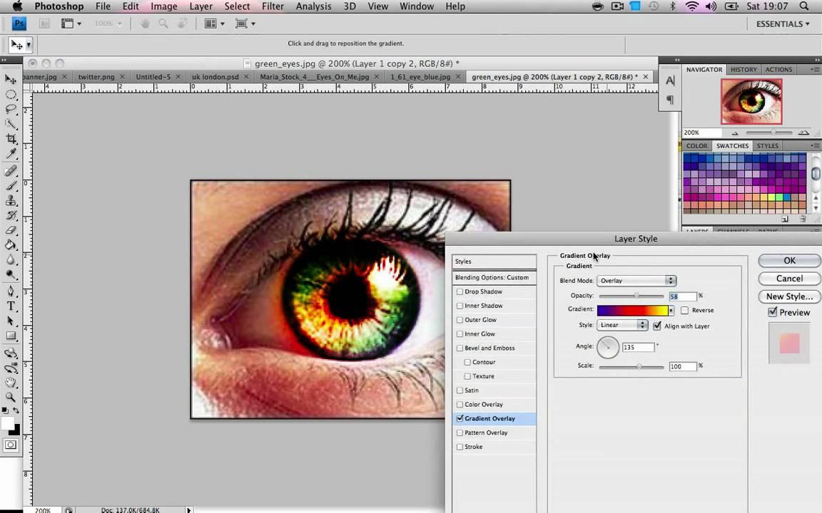 Как сделать в фотошопе другие глаза