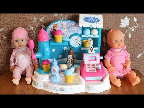 Baby Dolls and Play shop toys Cash Register & Frozen Ice Cream Shop Baby Annabell Lil cutesies