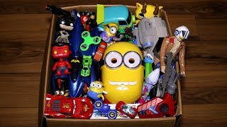 Box with Toys: Action Figures, Cars, Fidget Spinners and More