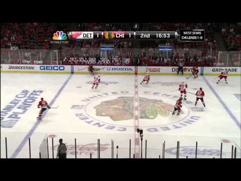 Damien Brunner deflected goal 1-1 May 18 2013 Detroit Red Wings vs Chicago Blackhawks NHL Hockey
