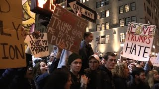 #NotMyPresident 10,000 Protesters @TRUMP TOWER Day After Election #WatchPaintDry 11/9/16