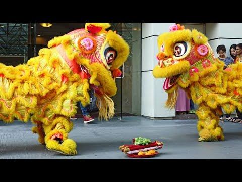 Lion and Dragon dance Chinese New Year 2014 at Chowkit GM Plaza, Kuala Lumpur,  Malaysia