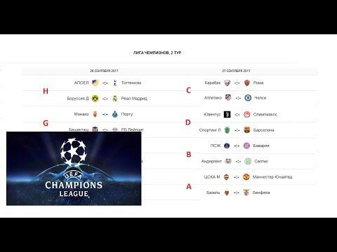 Расписание группового раунда Лиги Чемпионов сезона 2017/2018 годов + Группы
