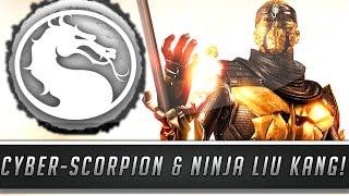 Mortal Kombat X: New Cyber Scorpion & Ninja Liu Kang Skins/Costumes Gameplay! (PC Mod Showcase)