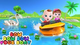 Funny Babies On Speed Boat Toys for Kids - Row Row Row Your Boat Nursery Rhymes & Kids Songs