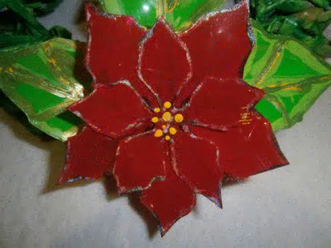 Flores de Noche buena con botellas PET.Easy Poinsettia Flowers Tutorial