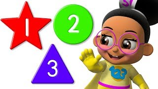 Learn Colors with Shapes & Numbers | 3D Cartoons Educational Videos by Super Geek Heroes