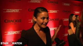 Emmanuelle Chriqui red carpet interview at Cleaners host screening event