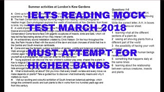 ielts reading test 2018 with answers | mock ielts test march 2018