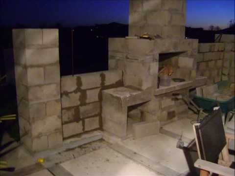 Building My Outdoor Fireplace And Patio Surrounding Wall Youtube