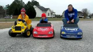 Grown Man Races Kids on Power Wheels